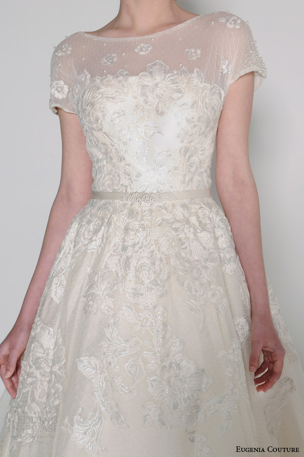 eugenia couture bridal spring 2016 sylvia illusion neckline short sleeve ball gown wedding dress close up bodice