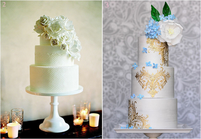 3-Tiered Wedding Cakes with Floral Accents