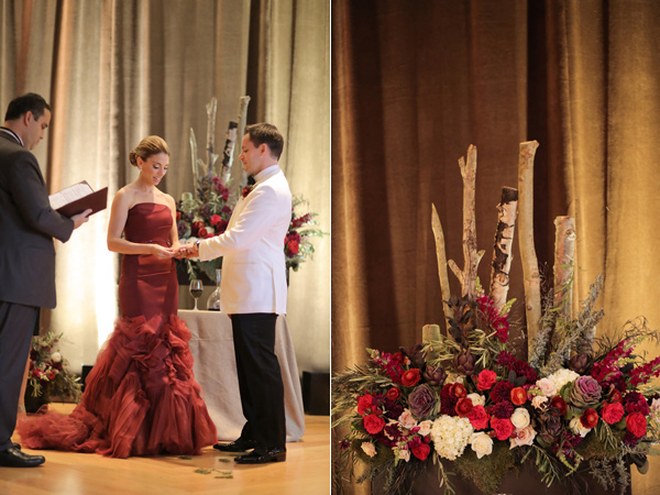 wedding ceremony - photo by Pepper Nix Photography http://ruffledblog.com/deer-valley-resort-wedding-with-a-burgundy-gown