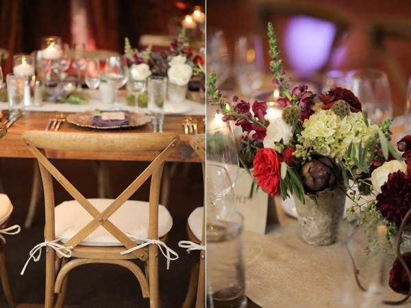 wedding reception - photo by Pepper Nix Photography http://ruffledblog.com/deer-valley-resort-wedding-with-a-burgundy-gown