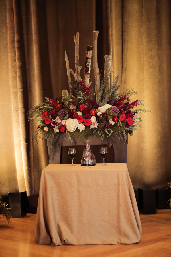 ceremony decor - photo by Pepper Nix Photography http://ruffledblog.com/deer-valley-resort-wedding-with-a-burgundy-gown