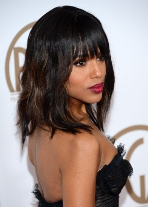 Mid-length Black Hairstyle with Blunt Bangs