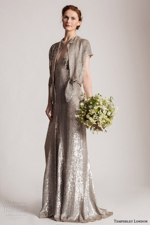 temperley london summer 2016 bridal tamir colored sequin wedding dress short sleeves