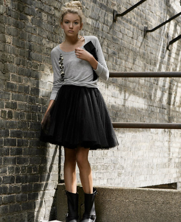tulle skirt and boots
