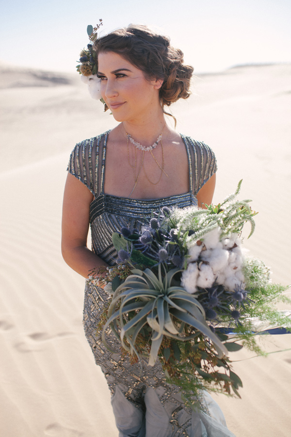 floral alternative bouquet - photo by Ashley Williams Photography http://ruffledblog.com/california-sand-dunes-wedding