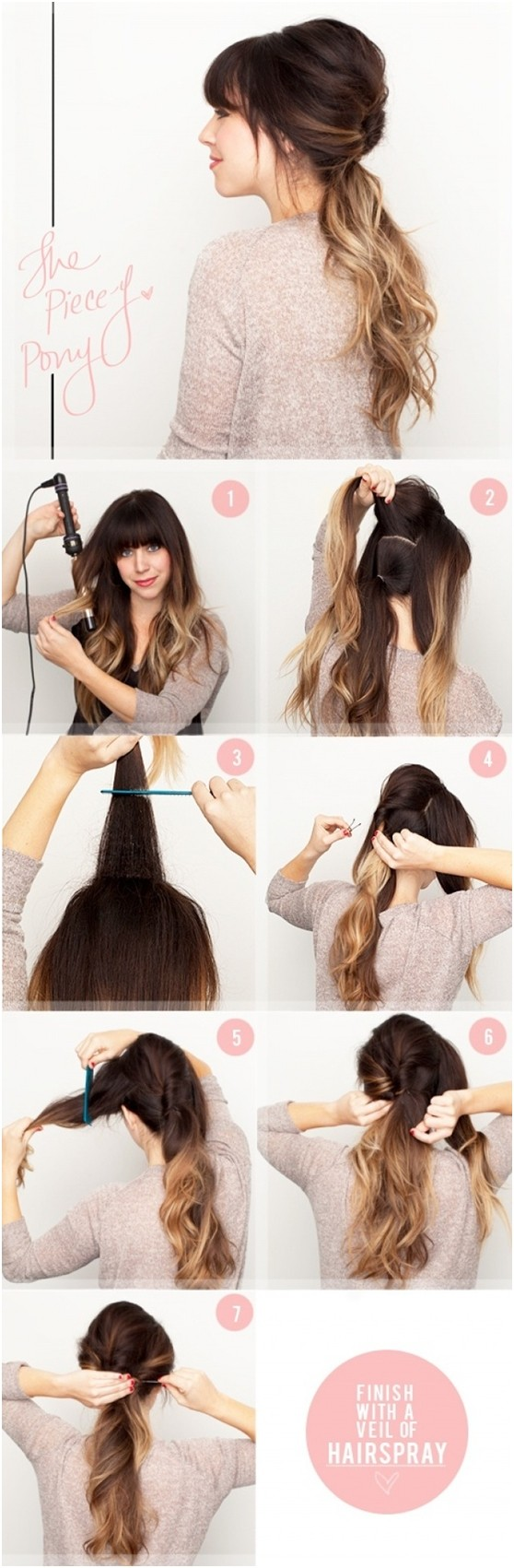 Easy Ponytail Hairstyle for Ombre Hair