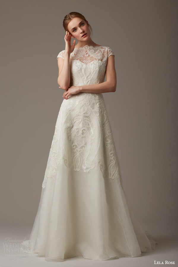 lela rose bridal spring 2016 the magnolia tree cap sleeve wedding dress lace bodice