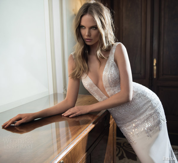 berta wedding dresses fall 2015 sleeveless sexy sheath gown deep v neckline