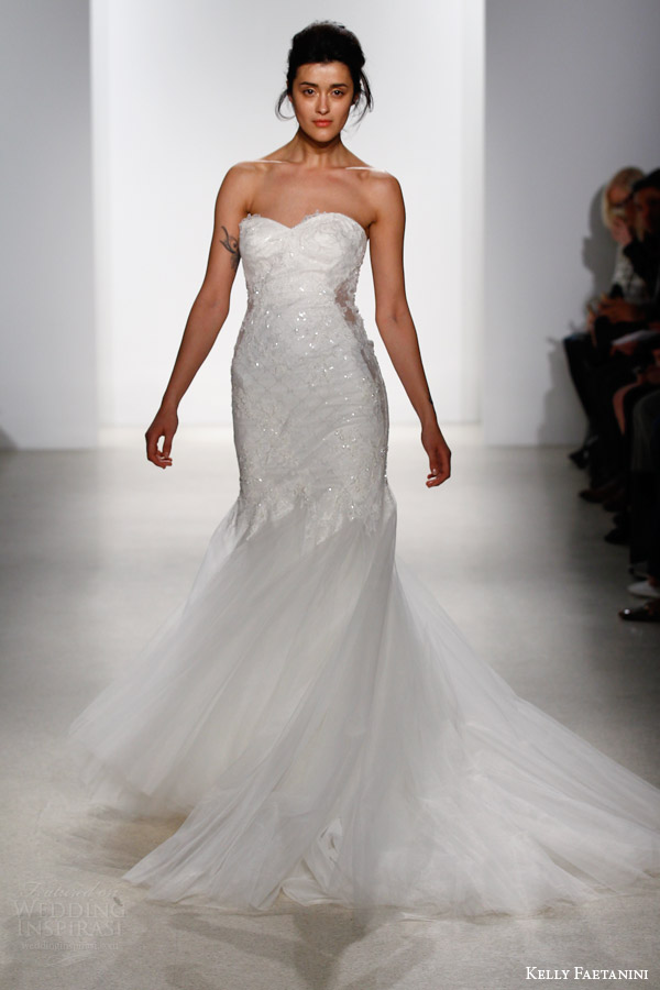 kelly faetanini bridal spring 2016 kaia strapless mermaid wedding dress godet skirt sweetheart neckline swish skirt