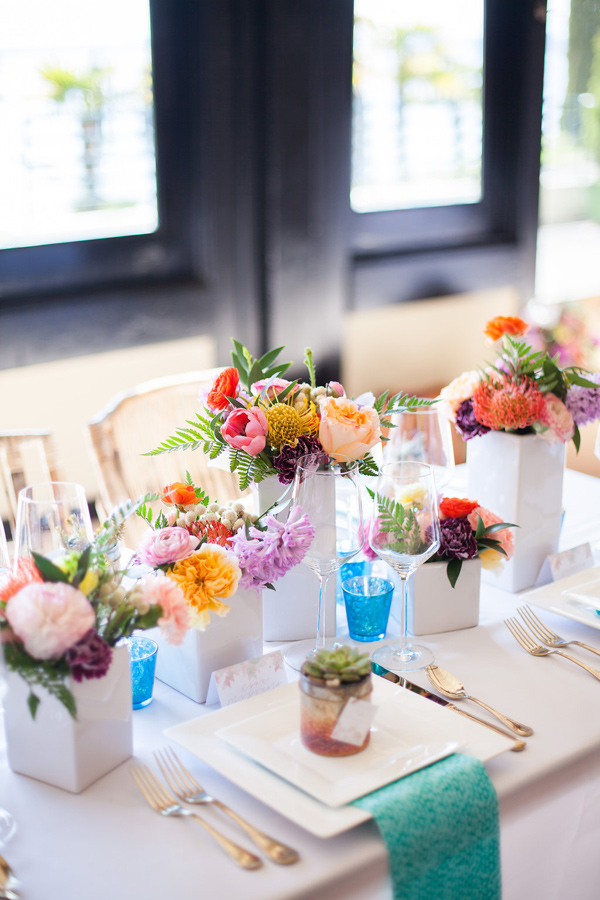 colorful tablescape - photo by Samantha McFarlen http://ruffledblog.com/seattle-watercolor-wedding-editorial