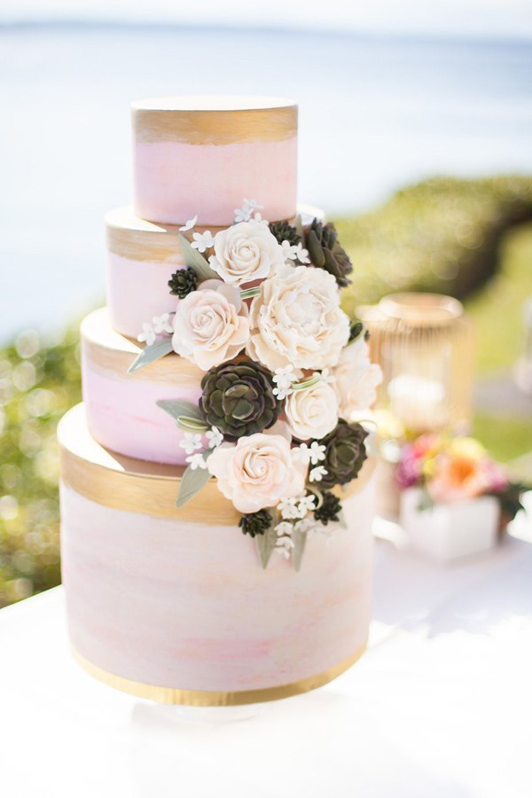 pink and gold cake - photo by Samantha McFarlen http://ruffledblog.com/seattle-watercolor-wedding-editorial