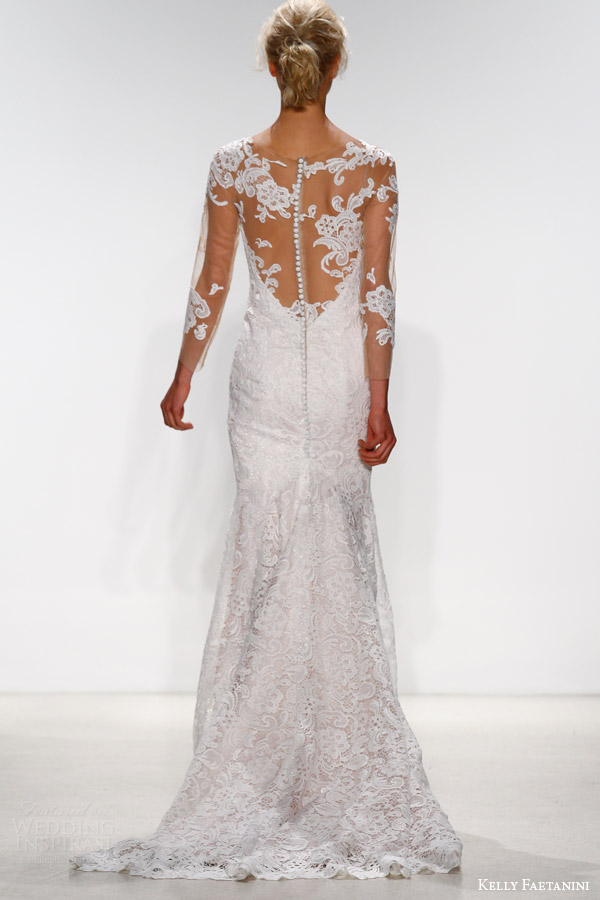 kelly faetanini bridal spring 2016 sena sheath wedding dress illusion neckline long sleeves back view