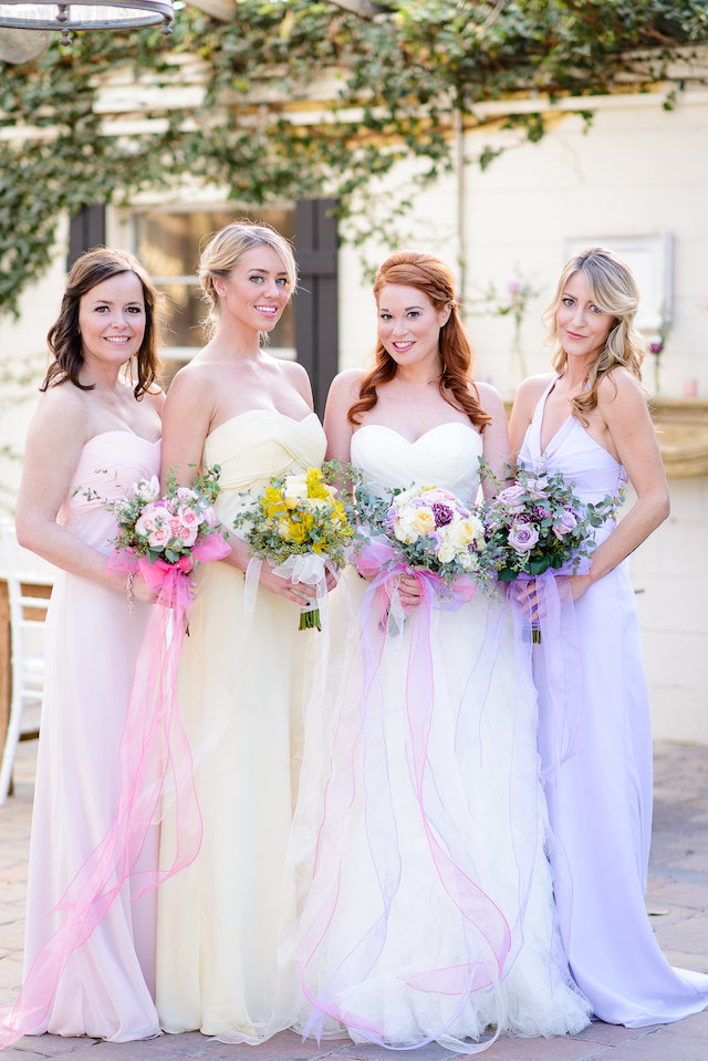 Pastel bridesmaids dresses | The Veil Wedding Photography | see more on: http://burnettsboards.com/2015/05/whimsical-pastel-ombre-wedding-ideas/