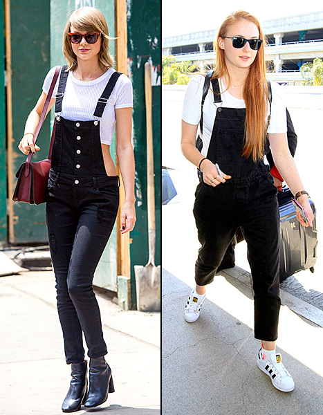 Taylor Swift and Sophie Turner both rocked black overalls while out and about on May 28. But who wore them best?