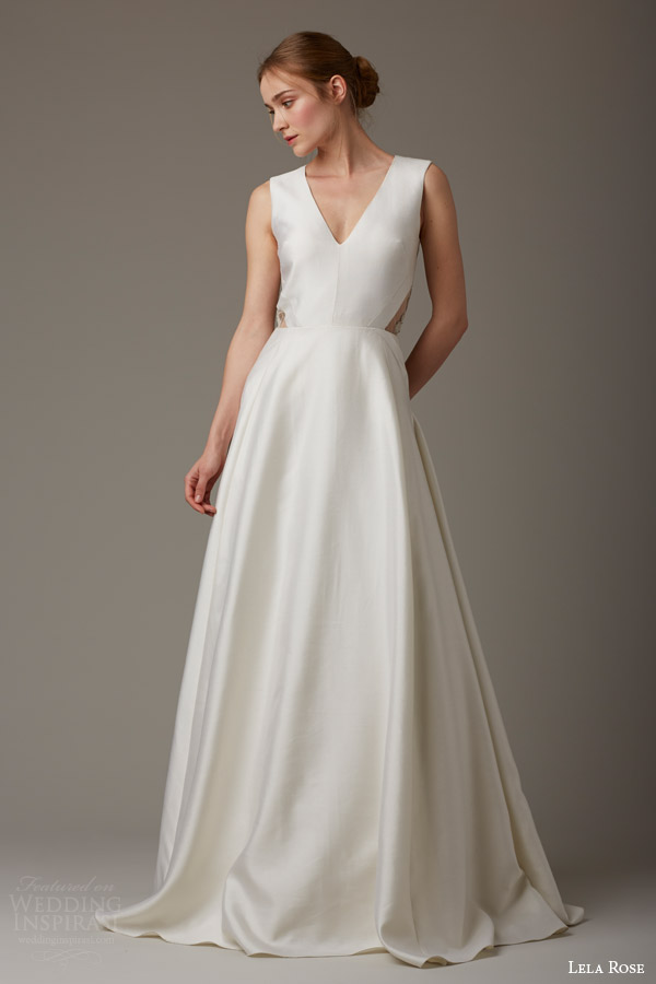 lela rose bridal spring 2016 green gable sleeveless wedding dress side sheer panel