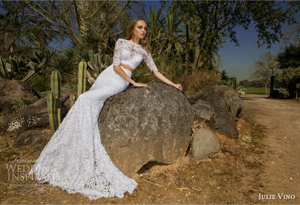 julie vino spring 2015 desert rose bridal collection camille half sleeve illusion lace crop top sheath skirt