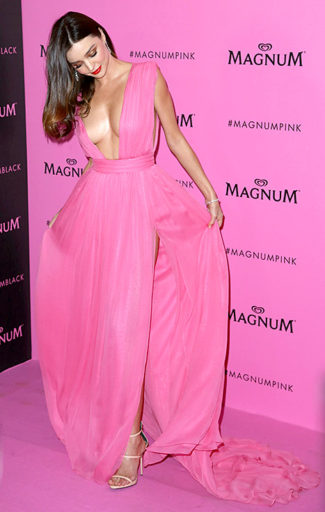 Miranda Kerr preps to get twirling at the Magnum Pink and Black fete during the 68th annual Cannes Film Festival on May 14.