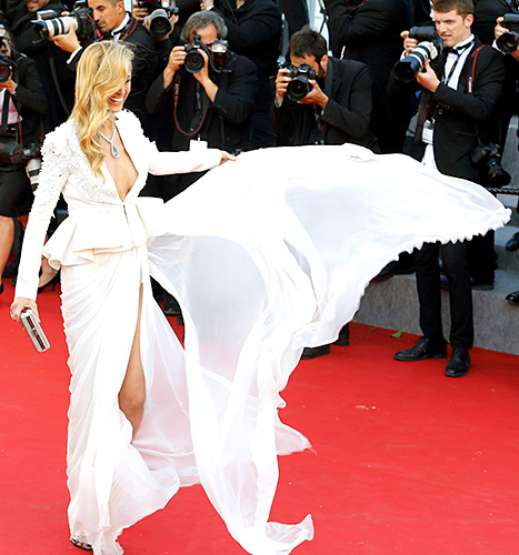 Petra Nemcova makes her chiffon fly at the Premiere of Youth during the 68th annual Cannes Film Festival on May 20.