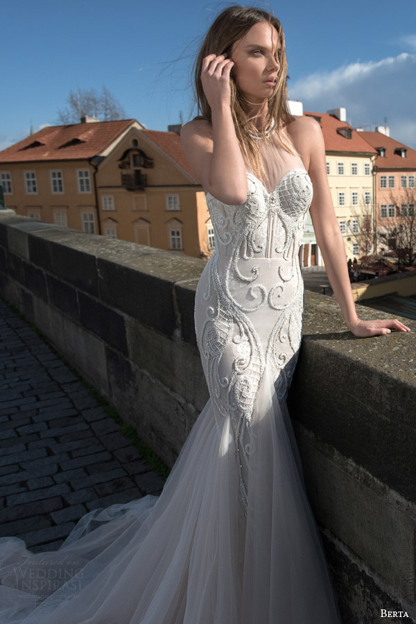 berta bridal fall 2015 illusion halter neck mermaid wedding dress beaded accent