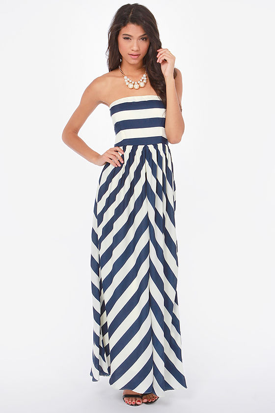 Tube blue and white stripe dress