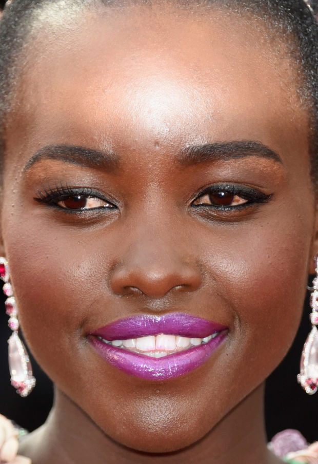 Close-up of Lupita Nyong'o at the 2015 Cannes premiere of 'La Tete Haute'.