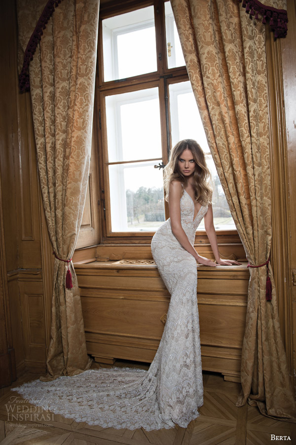 berta fall 2015 bridal sleeveless beaded sheath wedding dress straps beading
