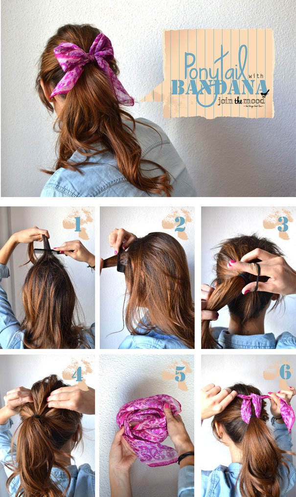 Simple Ponytail Hairstyle With Bandanna