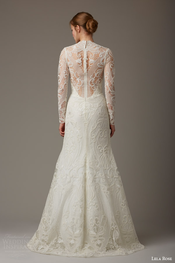 lela rose bridal spring 2016 the birchwood illusion neckline long sleeve lace wedding dress high neck back view