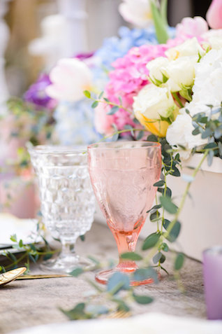 Blush pink glassware | The Veil Wedding Photography | see more on: http://burnettsboards.com/2015/05/whimsical-pastel-ombre-wedding-ideas/