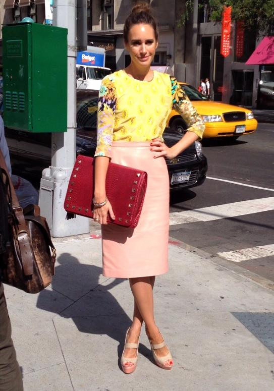 yellow printed top and pink pencil skirt