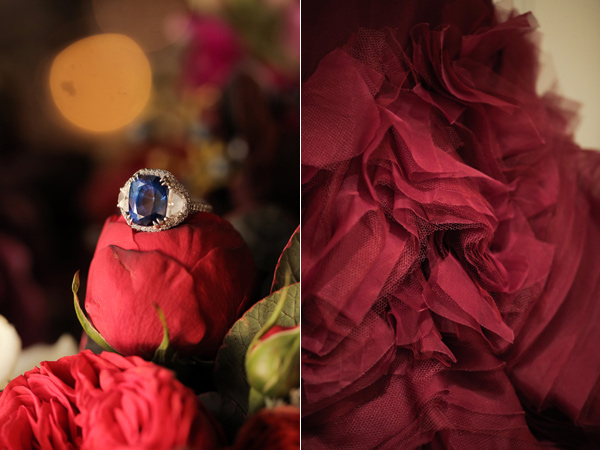 red wedding dress - photo by Pepper Nix Photography http://ruffledblog.com/deer-valley-resort-wedding-with-a-burgundy-gown