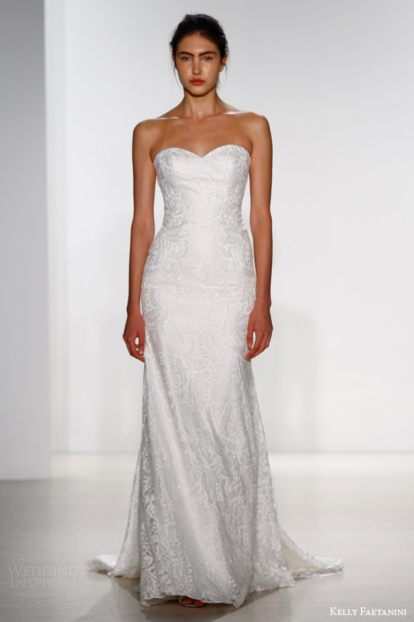 kelly faetanini bridal spring 2016 calista strapless sweetheart wedding dress sheath silhouette sweetheart neckline