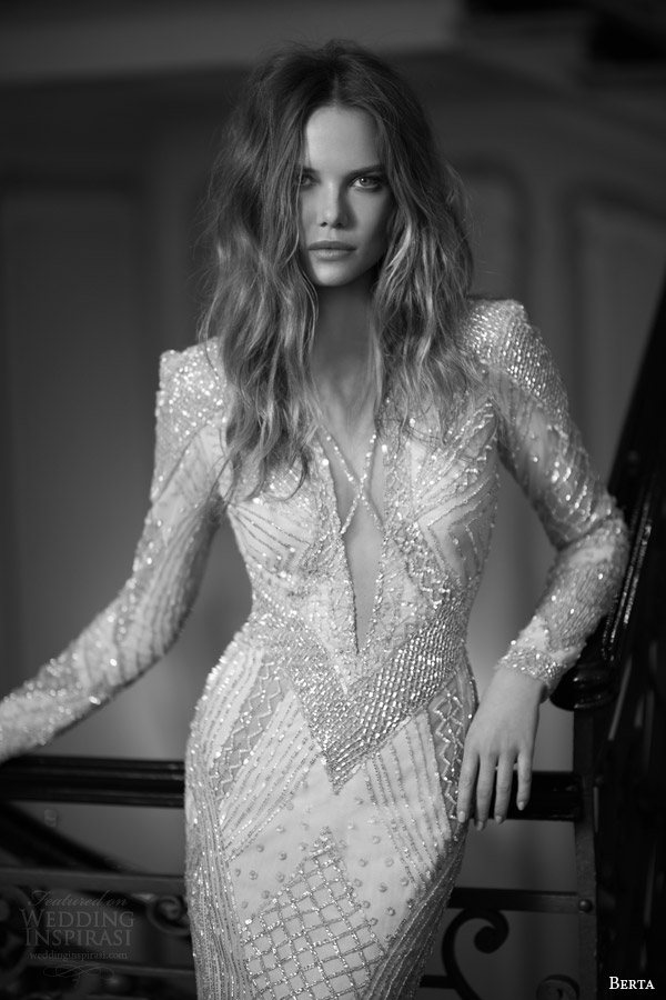 berta fall 2015 bridal long sleeve beaded sheath wedding dress close up bodice