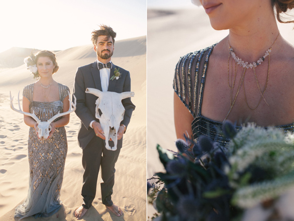 bridal accessories - photo by Ashley Williams Photography http://ruffledblog.com/california-sand-dunes-wedding
