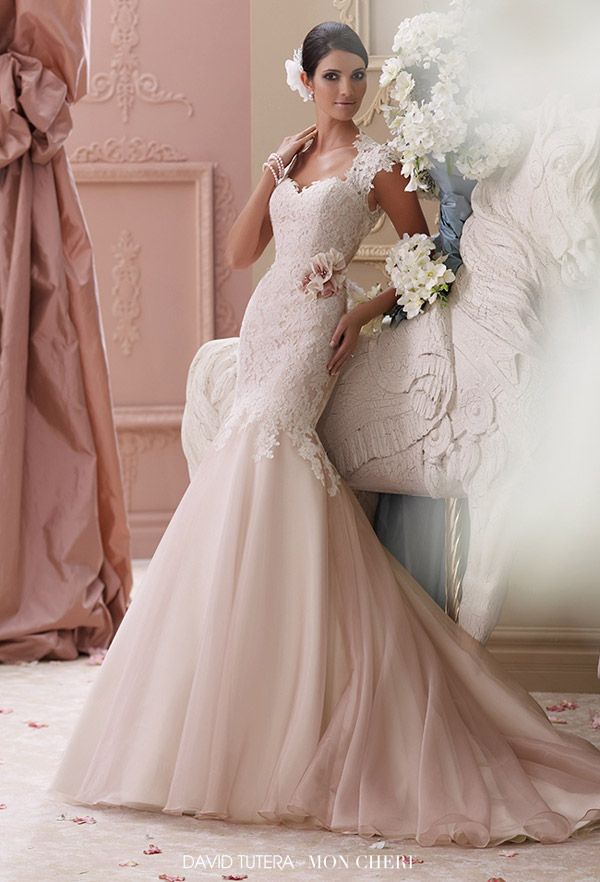 david tutera mon cheri spring 2015 style 115236 meadow corded lace applique trumpet wedding dress cap sleeves ivory tea rose color
