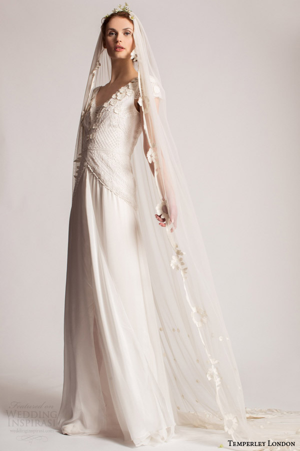 temperley bridal spring summer 2016 cressida cap sleeve wedding dress appliques v neckline