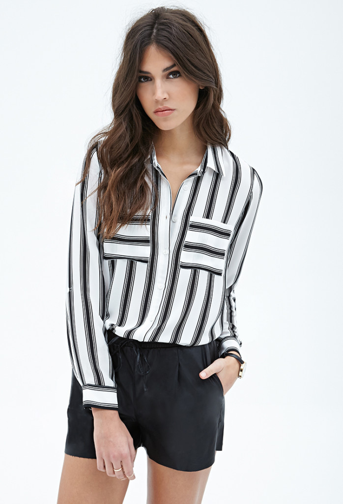 Long-sleeve black and white stripe loose chiffon shirt