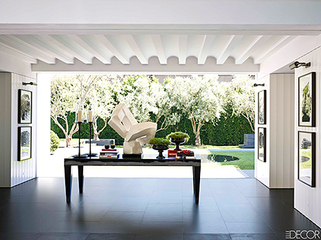 The breezeway in Lori Loughlin's remodeled Beverly Hills home.