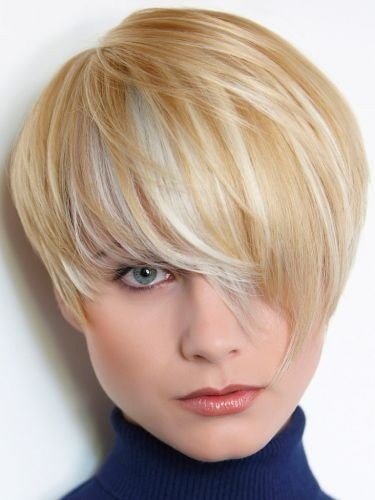 Short Blond Haircut with Long Side Bangs