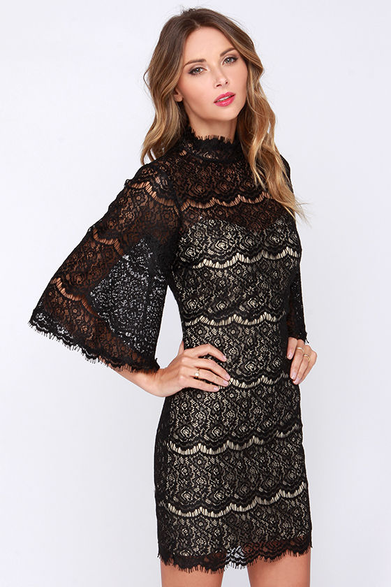 Turtleneck batwing sleeve laciness lace dress