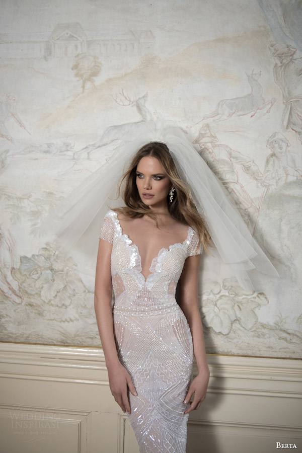 berta bridal fall 2015 short sleeve beaded sheath wedding dress