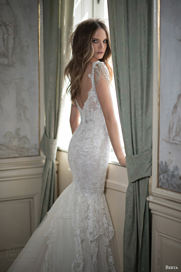 berta bridal fall 2015 mermaid wedding dress draped swag bead cap sleeves back view close up