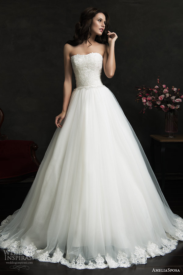 amelia sposa 2015 bridal filipina strapless ball gown wedding dress lace bodice hem skirt