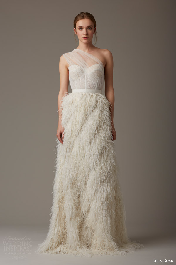 lela rose bridal spring 2016 the dusk one shoulder illusion overlay bodice feather skirt