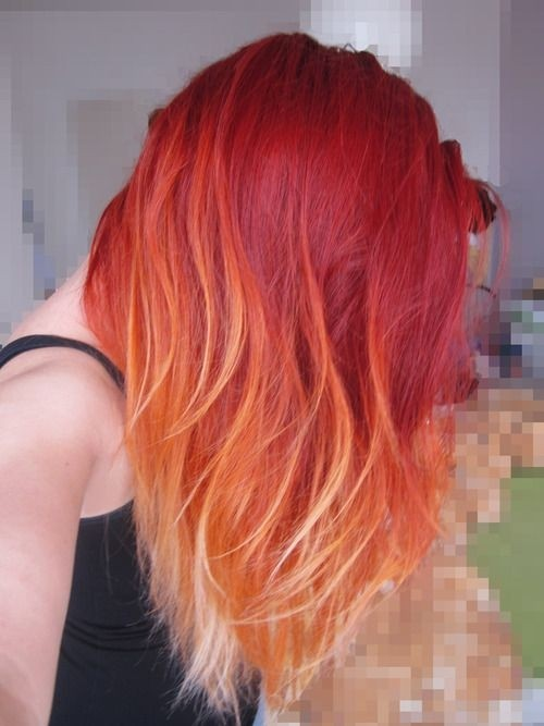 Long Straight Hairstyle for Red Ombre Hair