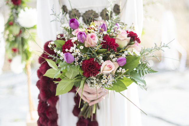 Pink and red bridal bouquet | Alisha Khan Photography | see more on: http://burnettsboards.com/2015/05/romance-chivalry-medieval-inspiration-shoot/