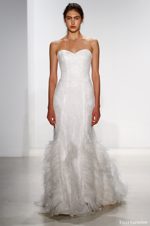 kelly faetanini bridal spring 2016 andy strapless sweetheart wedding dress feather accent skirt