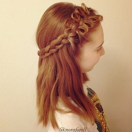 Cute Braided Hairstyle for Medium Hair
