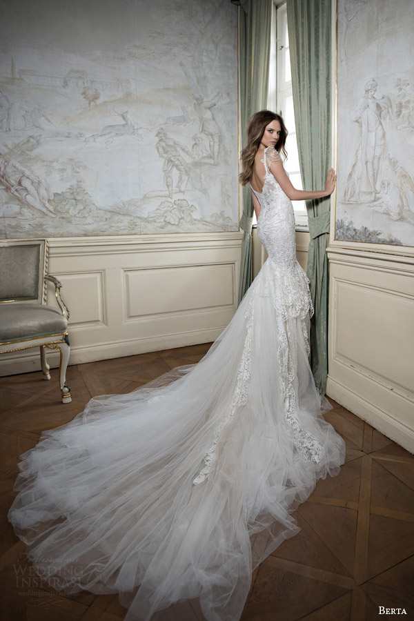 berta bridal fall 2015 mermaid wedding dress draped swag bead cap sleeves back view train