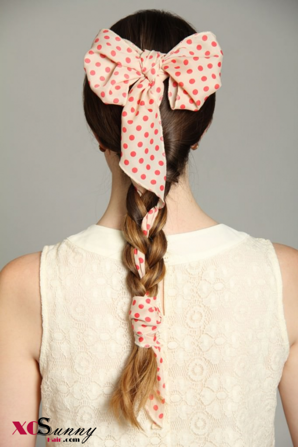 Braided Ponytail with Bow Scarf